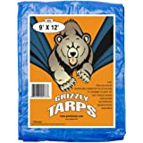 B-Air GTRP912 Grizzly Tarps 9 x 12 Feet Blue Multi Purpose Waterproof Poly Tarp Cover 5 Mil Thick 8 x 8 Weave