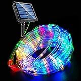 LED Rope Lights Solar Powered String Lights 40Ft 120 LEDs 8 Modes Color Changing Tube Light Indoor Outdoor Waterproof Strip F