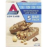 Atkins Chocolate Hazelnut Crisp Bars | Keto Friendly Bars | 5 x 37g Low Carb Chocolate Hazelnut Bars | Low Carb, Low Sugar, H