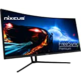 "Nixeus EDG 34"" Ultrawide 3440 x 1440 AMD Radeon FreeSync Certified 144Hz 1500R Curved Gaming Monitor with Tilt Only Stand (NX"
