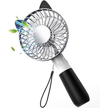 携帯扇風機 USB 扇風機 手持ち 卓上 折り畳み型 USB充電式 ファン 3段階調整 4枚羽根 大風量 コンパクト ストラップ付 花火大会 夏祭り 携帯便利 最新版 (ブラック)