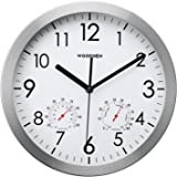 WOOPHEN 12 Inch Silent Non Ticking Wall Clock with Temperature&Humidity (Silver)