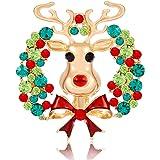 Daxi Christmas Jewelry Jingle Bell Snowflake Reindeer Christmas Tree Brooch Pin Xmas Pins Set Christmas Ornament Decoration G