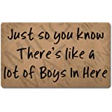 Funny Welcome Monogram Area Rug(18 x 30) inch Just So You Know There's Lika a Lot of Boys in Here Colorful Top with Anti-Slip