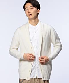 Middle Gauge Wool Shawl Collar Cardigan 1113-199-3452: White