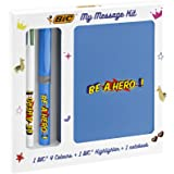 BIC My Message Kit Be a Hero - Stationery Set with 1 BIC 4 Colours Ball Pen, 1 BIC Highlighter Grip Pen - Blue, 1 Blank Noteb