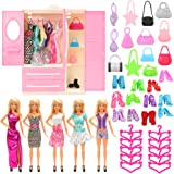 Barwa 36 Items for 11.5 Inch 28 - 30 cm Dolls: 1 Wardrobe + 5 Clothes Dresses + 10 PCS Shoes + 10 Hangers + 10 Bags
