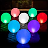 HAPIKAY Solar Floating Pool Lights - Pack of 2 Solar Powered Color Changing 14-Inch Balls - Float Or Hang in Pool Garden Back