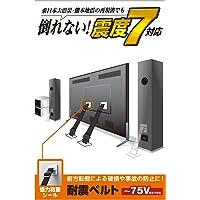 エレコム 耐震ベルト テレビ用 75インチまで対応 強力粘着シールタイプ 2本入 TS-002N2