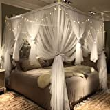 Joyreap 4 Corners Post Canopy Bed Curtain for Girls & Adults - Royal Luxurious Cozy Drapes - Cute Princess Bedroom Decoration