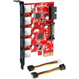 Inateck PCI-E to USB 3.0 (5 Ports) PCI Express Card and 15-Pin Power Connector, Red (KT5001)