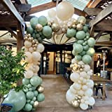 DIY Balloon Arch Kit Retro Olive Green Balloon Garland Kit-154pcs Sage Green, Ivory White and Metallic Chrome Gold Balloons f