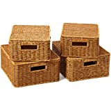 EZOWare Set of 4 Resin Woven Baskets with Lid, Decorative Storage Organizer Bin with Handles - Natural Brown