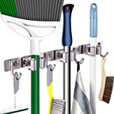 """Mop Broom Holder Heavy Duty Hooks Hanger Wall Mounted 17"""" Stainless Steel Organizer for Home Laundry Bathroom Kitchen Garage"""