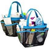 2 Pack Portable Mesh Shower Caddy with 8 Storage Pockets YuCool Hanging Tote Toiletry Bath Organizer Bag with 2 Type Hooks fo