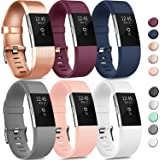 6 Pack Sport Bands Compatible with Fitbit Charge 2 Bands, Adjustable Replacement Wristbands for Women Men Small Large (6 Pack