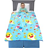 "Franco Kids Bedding Super Soft Plush Throw Blanket, 46"" x 60"" Twin Size, Baby Shark"
