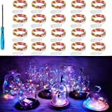 LED Fairy String Lights, 20 Pack 20 LED Micro Starry Lights Waterproof Silver Wire Battery Operated Lights Firefly Lights Bot
