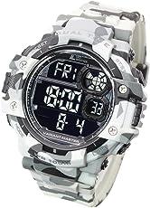 [LAD WEATHER] ミリタリーウォッチ デュアルタイム サバゲー/アウトドア ペースメーカー 100m防水 腕時計 (カモフラージュホワイト(反転液晶))