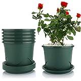 T4U Plastic Flower Pot with Saucers - 0.9 Gallon 19cm / 7.5in Dark Green Set of 6, Gallon Lotus Planting Basin Garden Flower