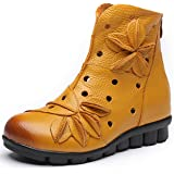 [HR株式会社] レディースブーツ 冬 本革 ショートブーツ 厚底ブーツ サイドジッパー ローヒール 裏ボア ペタンコ フラワー 短靴 黒 女性