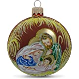 BestPysanky Holy Family Admires Jesus Nativity Scene Glass Ball Christmas Ornament