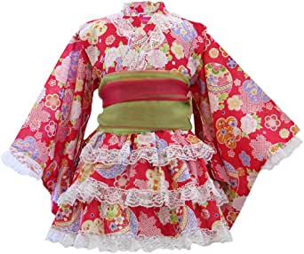 浴衣ドレス 子供 浴衣ドレス+兵児帯 ベビー キッズ ジュニア 女の子 [リトルプリンセス] Little Princess