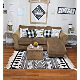 3'x5'Hand Woven Rug, USTIDE Accent Rug for Bedroom, Large Cotton Tassels Boho Area Rug Fringe Rug for Living Room Kitchen Lau
