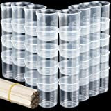 40 PCS 50ml/1.7oz Epoxy Mixing Cups, LEOBRO Plastic Graduated Cup Clear Multipurpose Measuring Cup for Resin, Epoxy, Paint, C