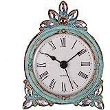 (Aqua) - Nikky Home Vintage Pewter Quartz Table Clock with Crystal Shining Rhinestone, Aqua