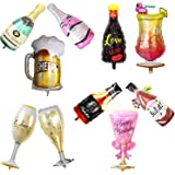 10pcs Assorted Wine Whiskey Beer Bottle Champagne Cup Foil Balloons Inflatable Helium Valentines Wedding Hen Party Decor Birt
