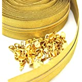 B.Y Elements #5 Gold Metallic Nylon Coil Zippers by The Yard Bulk 10 Yards with 25pcs Sliders for DIY Sewing Tailor Craft Bag
