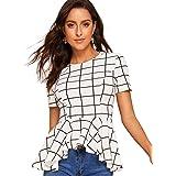 ROMWE Women's Petite Elegant Slim Short Sleeve Irregular Hem Ruffle Blouse Top
