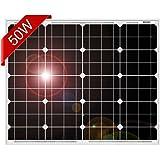 DOKIO 超高効率 単結晶 ソーラーパネル 50W 12V 弱光環境でも安定出力 車中泊 防災グッズ 自作のソーラー発電(太陽光発電)に最適な小型・家庭用太陽光パネル(太陽電池)