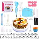 Cake Decorating Equipment, SPLAKS 106pcs Cake Decorating Set Cupcake Decorating Kit Baking Supplies with Nonslip Turntable St