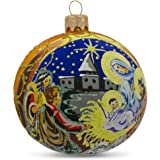 BestPysanky Nativity Scene on Gold Glass Ball Christmas Ornament 4 Inches