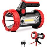 Rechargeable Spotlight, 6000Lumens LED Spotlight Flashlight 6 Modes Bright Handheld Large Flashlight with Tripod & Mobile Cha