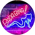 Bada Bing Girl Lady Man Cave Dual Color LED Neon Sign Red & Blue 400 x 300mm st6s43-i2585-rb