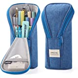 ANGOOBABY Standing Pencil Case Pencil Pouch Bag for Teen Girl Boy Student (Blue)