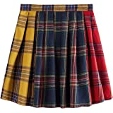 WDIRARA Women's Fashion Plaid Mid Waist Colorblock Tartan Mini Pleated Skirt