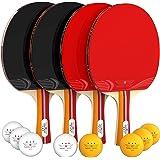 Table Tennis Set (4-Player Bundle) 4 Ping Pong Paddles, 8 ABS Tournament Level Balls Convenient Storage Bag Beginners, Profes