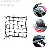 DogXiong 2 Package 15 x15 (40x40cm) Motorcycle Cargo Net for Motorcycle Elasticated Bungee Cord Cargo Net Luggage Mesh Bungee