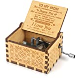 Music Box Hand Crank Engraved Musical Box Mechanism Antique Vintage Personalizable Gift for Daughter Kids Daughter to Mom