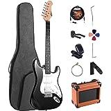 ADM Electric Guitar Beginner Kit 39 Inch Full Size Sunburst, Starter Package with Amplifier, Bag, Capo, Strap, String, Tuner,