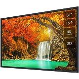 プロジェクタースクリーン 壁掛け式 フレーム スクリーン 84インチ 3D フルHD 4K解像度 アスペクト比 16:9 ホームシアター用 可視角度160° PPTプレゼンテーション ビジネス会議 教室 映画 適用