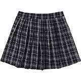 WDIRARA Women's Plaid High Waist Pleated Casual Uniform Skater Mini Skirt
