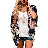 Finoceans Womens Floral Chiffon Kimono Cardigans Loose Beach Cover Up Half Sleeve Blouse Tops