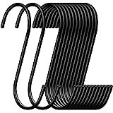 30 Pack ESFUN Heavy Duty S Hooks Black Steel S Shaped Hooks for Hanging Pans Pots Plants Bags Towels Kitchen Hooks Hanger, La