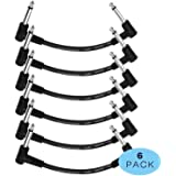 Donner 6 Inch Patch Black 6-Pack Guitar Effect Pedal Cables