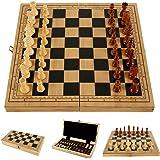 readygohigh チェスセット 国際チェス 木製 エンターテイメントゲーム 折りたたみボード 木目 折りたたみチェ…